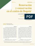 Renovación y conservación en el centro de Bogotá
