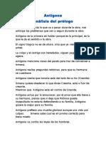 Análisis Del Prologo de Antígona