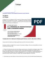 Comunicado de La Conferencia Del Episcopado Mexicano Sobre La Educación en México