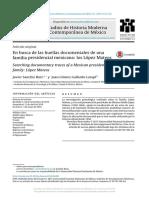 Sanchis Ruiz, J., En Busca de Las Huellas Documentales de Una Familia Presidencial Mexicana, Los López Mateos