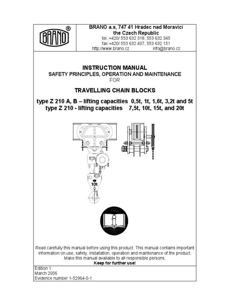 Instruction Manual Safety Principles, Operation and Maintenance for  Travelling Chain Blocks | Elevator | Crane (Machine)