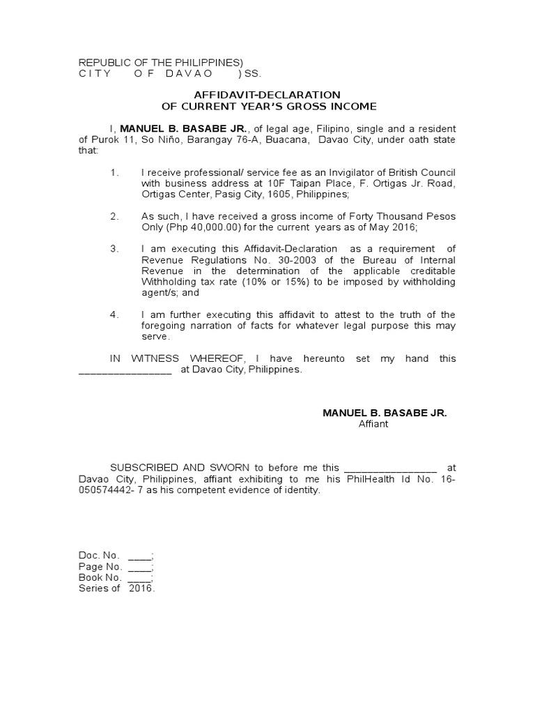 affidavit of income declaration Affidavit (Declaration of Income)