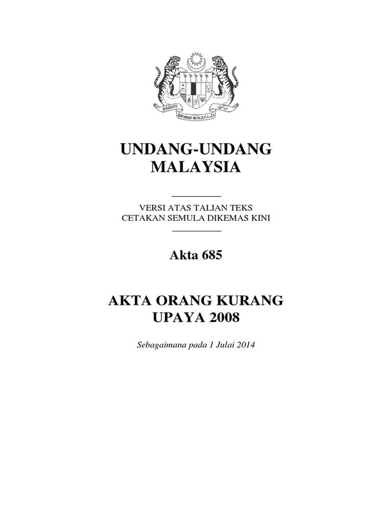 Akta 685 Akta Orang Kurang Upaya 2008