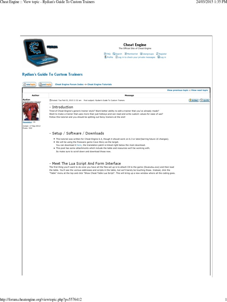 (3) Rydian's Guide to Custom Trainers | Cheating In Video Games | Internet  Forum