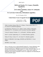 Richard W. Cramer and Stanley W. Cramer v. Ronald C. Hoffman, Robert Sheldon, James W. Littlejohn and St. Lawrence University, 390 F.2d 19, 2d Cir. (1968)