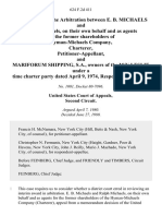 In the Matter of the Arbitration Between E. B. Michaels and Ralph Michaels, on Their Own Behalf and as Agents for the Former Shareholders of Hyman-Michaels Company, Charterer, and Mariforum Shipping, S.A., Owners of the M/v Leslie Under a Time Charter Party Dated April 9, 1974, 624 F.2d 411, 2d Cir. (1980)