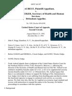 Frank Aubeuf v. Richard Schweiker, Secretary of Health and Human Services, 649 F.2d 107, 2d Cir. (1981)