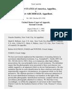 United States v. Robert Archibald, 734 F.2d 938, 2d Cir. (1984)