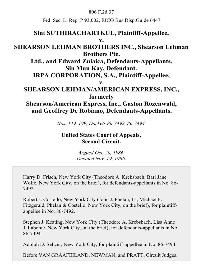 shearson lehman brothers inc