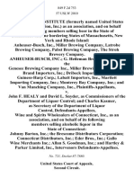 In Re the Beer Institute (Formerly Named United States Brewers Association, Inc.) as an Association, and on Behalf of Its Following Members Selling Beer in the State of Connecticut and the Bordering States of Massachusetts, New York and Rhode Island