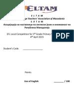 V Grade EFL ELTAM Local Competition 2015 Key