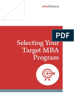 Selecting your Target MBA Program