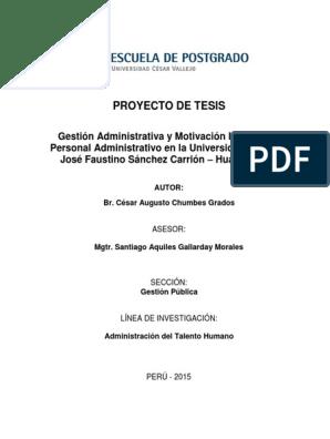 Proyecto De Gestion Publica Planificación Motivación