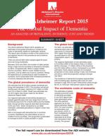 World Alzheimer Report 2015 Summary Sheet
