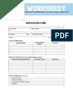Worksheet Application Form