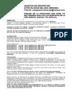 Requisitos de Inscripcion. Actualizados Año 2016