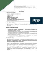 Syllabus Análisis Económico I - Carlos García