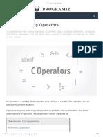 c programming operators  its a 10 mark question
