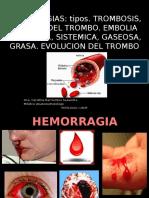 Clase 4 - Hemorragias, Trombosis, Embolia Pulmonar, Sistemica
