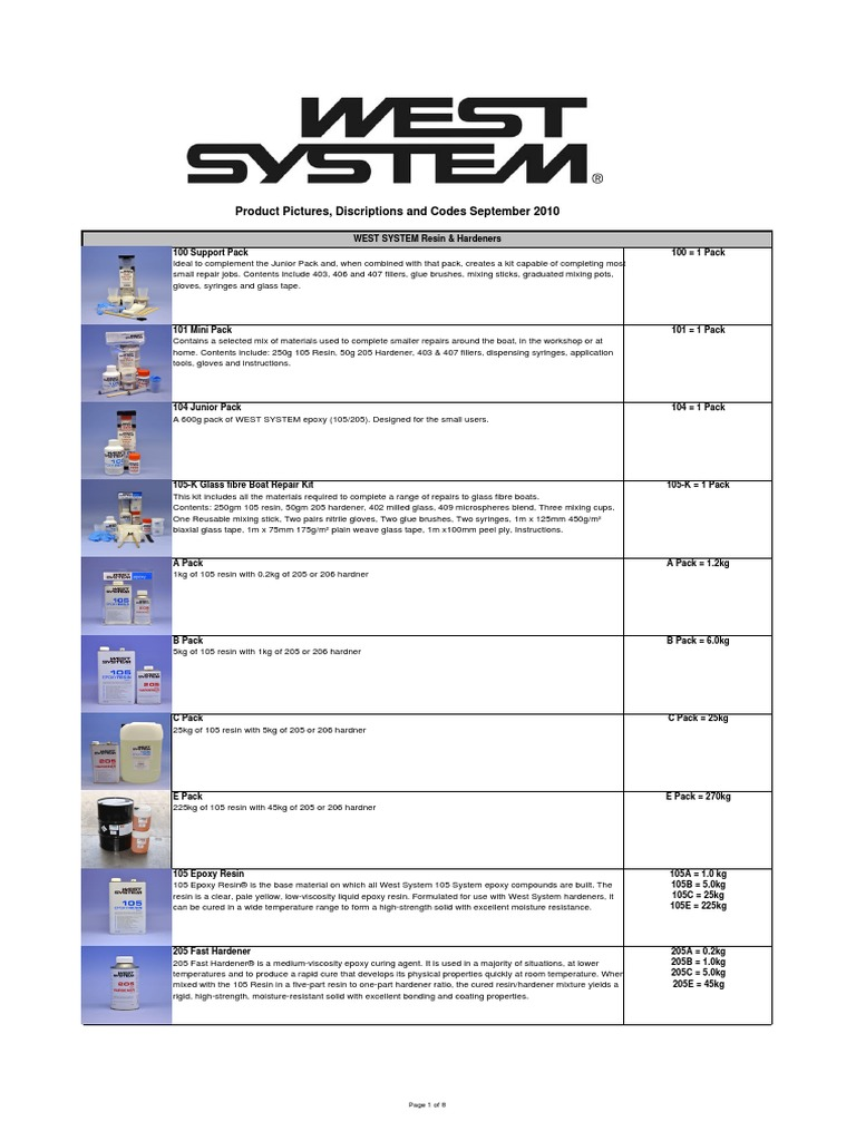 WEST SYSTEM Product Literature | Epoxy | Composite Material