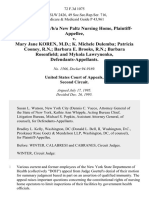 Evelyn Blue, D/B/A New Paltz Nursing Home v. Mary Jane Koren, M.D. K. Michele Dulemba Patricia Cooney, R.N. Barbara E. Brooks, R.N. Barbara Rosenfield and Mykola Lawrynenko, 72 F.3d 1075, 2d Cir. (1995)