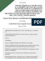 John J. McCarthy v. Francis Teta, Director of Classification, 101 F.3d 108, 2d Cir. (1996)