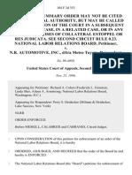 National Labor Relations Board v. N.R. Automotive, Inc., D/B/A Metro Toyota, 104 F.3d 353, 2d Cir. (1996)