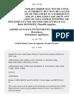 Reba Monisoff v. American Eagle Investments, Inc, Allen R. Rosenberg, 104 F.3d 356, 2d Cir. (1996)