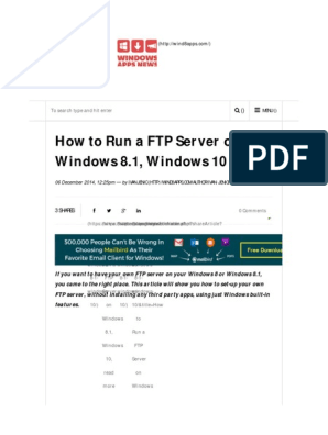 How to Run a FTP Server on Windows 8 1, Windows 10: To search type