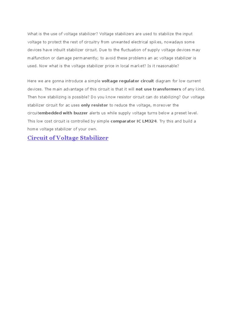 Voltage Stabilizer Our Regulator Schematic