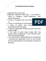Document Required for Classs3- Company