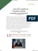 ¿Por Qué Tanto Empeño en Constitucionalizar El Estado de Emergencia_ , Por Jean-Claude Paye