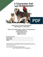 2016 PET CONTEST- Entry Form