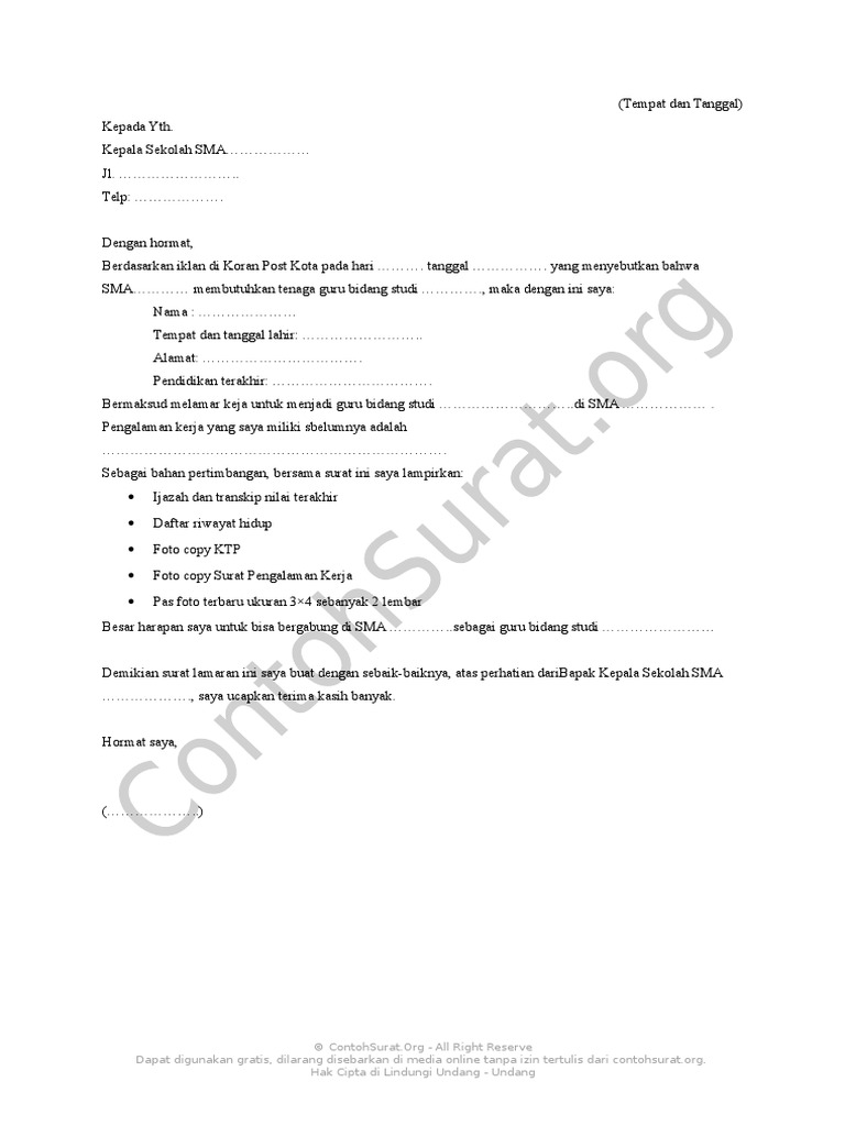 Contoh Surat Lamaran Kerja Guru Sma Format