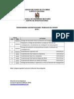 Cronograma Trabajos de Grado 2016 I-II-III