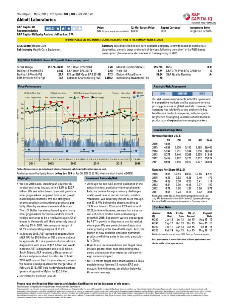 Abbott Laboratories Standard Poors Securities Research
