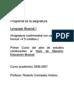 Lenguaje Musical I PROGRAMA