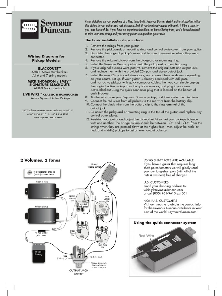 Unique Wiring Diagram For Seymour Duncan Pickups Model - The Wire ...
