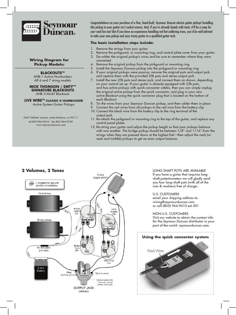 Großartig Schaltplan Seymour Duncan Bilder - Elektrische Schaltplan ...