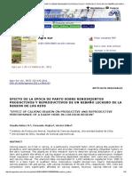 .....Agro Sur - Efecto de La Epoca de Parto Sobre Rendimientos Productivos y Reproductivos de Un Rebaño Lechero de La Region de Los Rios
