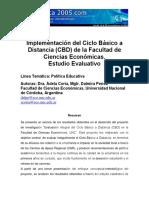 Estudio Evaluativo CicloBasico a Distancia. Ciencias Economicas