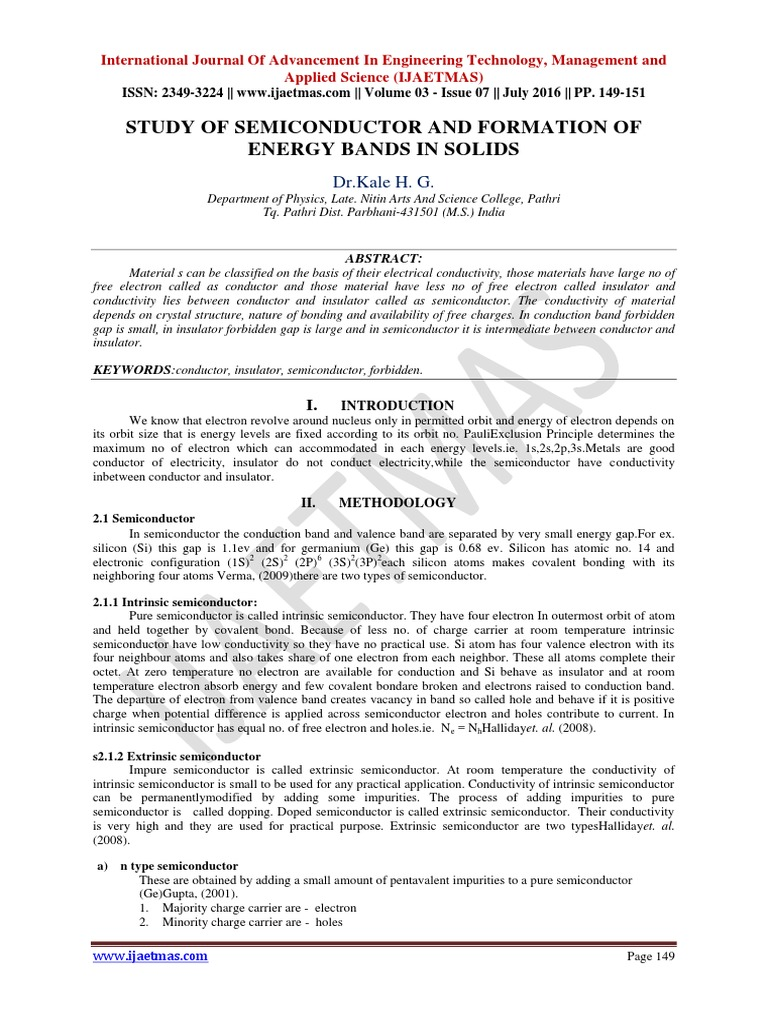STUDY OF SEMICONDUCTOR AND FORMATION OF ENERGY BANDS IN SOLIDS ...