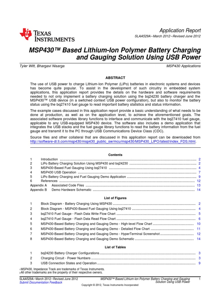 Tiapplication Note 1 Battery Charger Usb Power Schematic