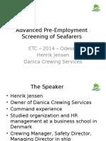 05 - Henrik Jensen - Danica Maritime - Advanced Pre-Employment Screening of Seafarers
