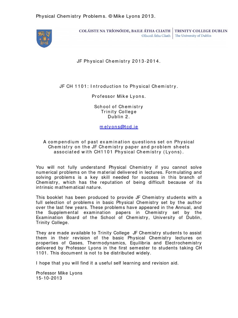 JF Physical Chemistry 2013 - 2014 Past Exam Questions
