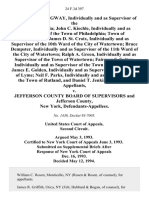 Lawrence C. Longway, Individually and as Supervisor of the Town of Pamelia John C. Kiechle, Individually and as Supervisor of the Town of Philadelphia Town of Philadelphia James D. St. Croix, Individually and as Supervisor of the 10th Ward of the City of Watertown Bruce Dempster, Individually and as Supervisor of the 11th Ward of the City of Watertown Ralph A. Green, Individually and as Supervisor of the Town of Watertown Fairman S. Sutton, Individually and as Supervisor of the Town of Alexandria James E. Golden, Individually and as Supervisor of the Town of Lyme Neil F. Parks, Individually and as Supervisor of the Town of Rutland, and Daniel T. Jenkins v. Jefferson County Board of Supervisors and Jefferson County, New York, 24 F.3d 397, 2d Cir. (1994)