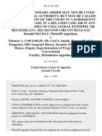Donald McCray v. Thomas A. Coughlin, III Carl S. Smith Doctor Mark F. Zongrone, Md Sergeant Hawes, Security Officer James A. Mance, Deputy Superintendent of Programs, Marcy Correctional Facility, 101 F.3d 1392, 2d Cir. (1996)