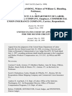 Frouwke K. Blanding, Widow of William G. Blanding v. Director, Owcp, U.S. Department of Labor, Oldam Shipping Company, Employer, Commercial Union Insurance Company, Carrier, 186 F.3d 232, 2d Cir. (1999)