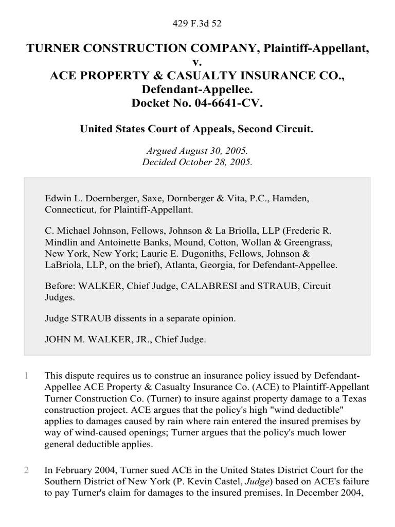 Turner Construction Company v. Ace Property & Casualty ...