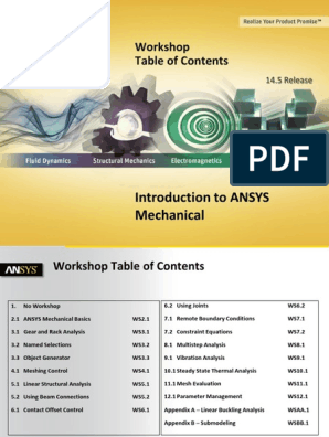 ANSYS 14 5 workshop pdf | Microsoft Excel | Yield (Engineering)